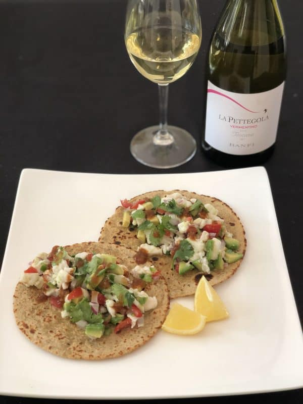 halibut ceviche and paired wine dinner to go
